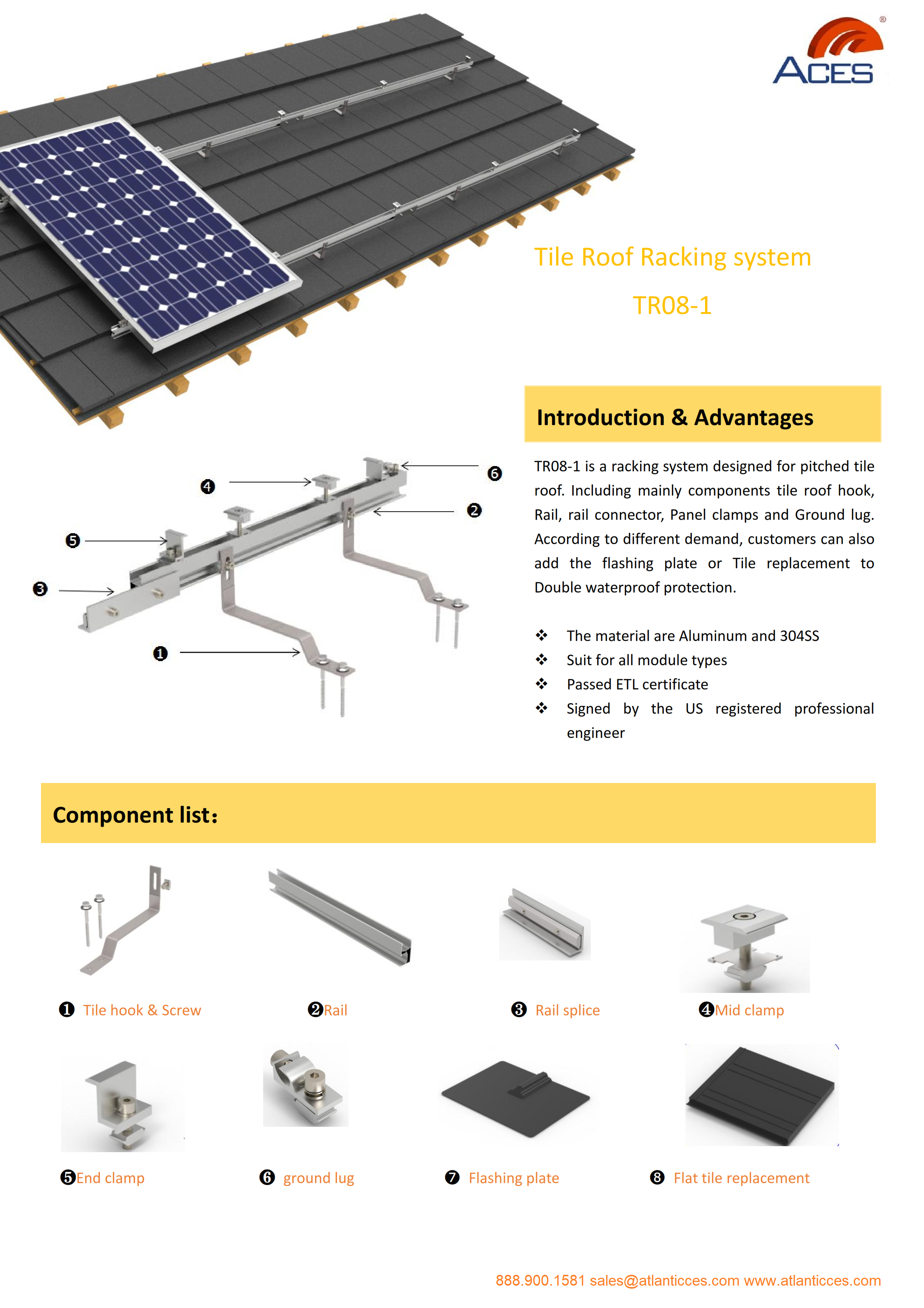 Flat tile roof racking TR08-1